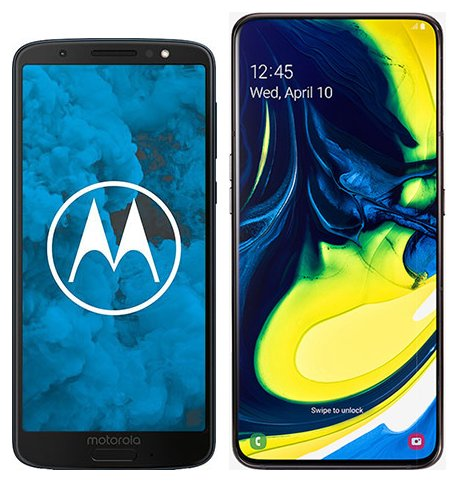 Moto G6 vs Galaxy A80. Size comparison