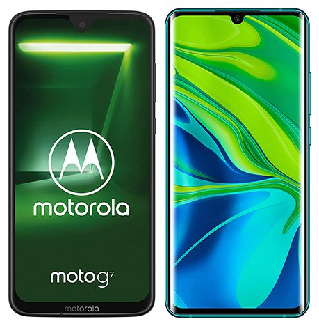 Smartphone Comparison: Motorola moto g7 vs Xiaomi note 10