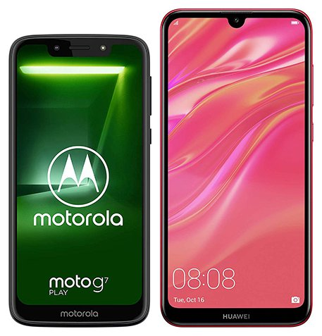 Smartphone Comparison: Motorola moto g7 play vs Huawei y7 2019