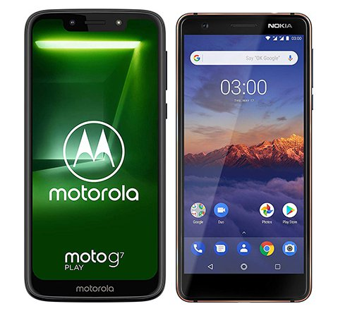 Smartphone Comparison: Motorola moto g7 play vs Nokia 3 1 2018