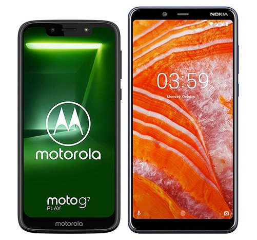 Smartphone Comparison: Motorola moto g7 play vs Nokia 3 1 plus