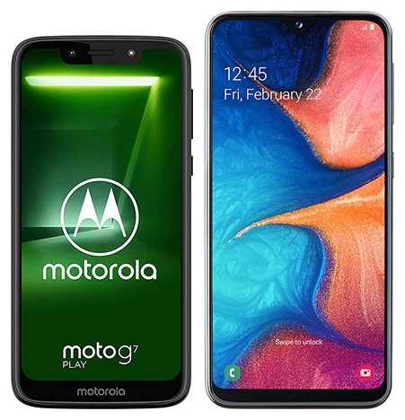 Smartphone Comparison: Motorola moto g7 play vs Samsung galaxy a20