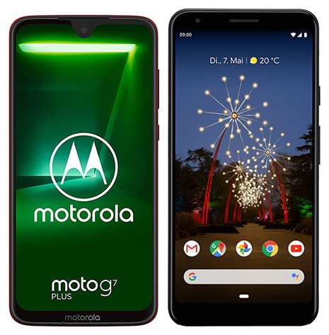 Smartphone Comparison: Motorola moto g7 plus vs Google pixel 3a xl