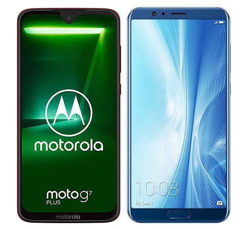 Smartphone Comparison: Motorola moto g7 plus vs Honor view 10