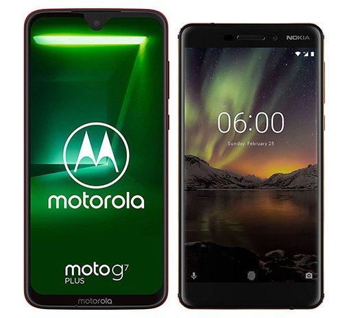 Smartphone Comparison: Motorola moto g7 plus vs Nokia 6 1