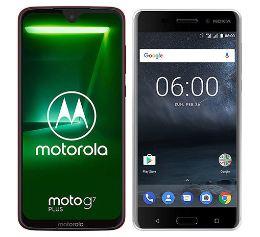 Smartphone Comparison: Motorola moto g7 plus vs Nokia 6