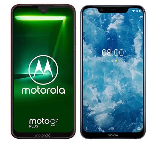Smartphone Comparison: Motorola moto g7 plus vs Nokia 8 1