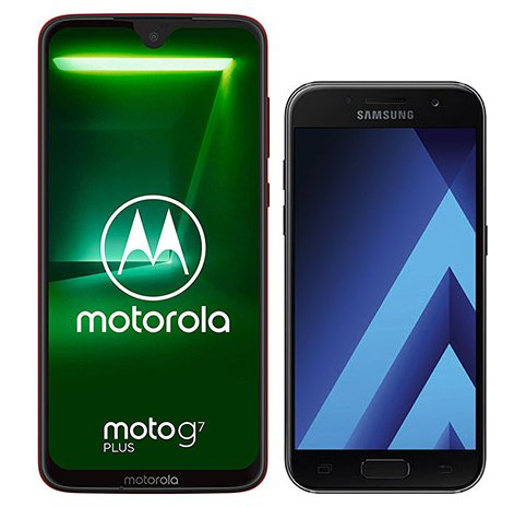 Smartphone Comparison: Motorola moto g7 plus vs Samsung galaxy a3 2017