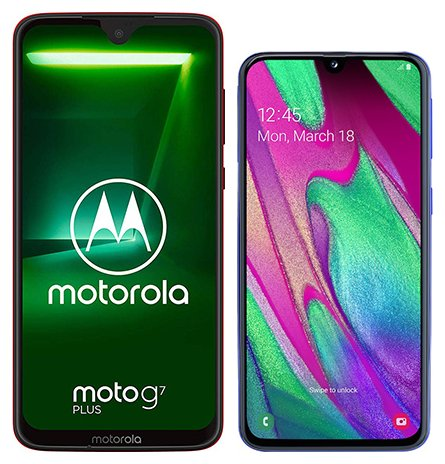 Smartphone Comparison: Motorola moto g7 plus vs Samsung galaxy a40