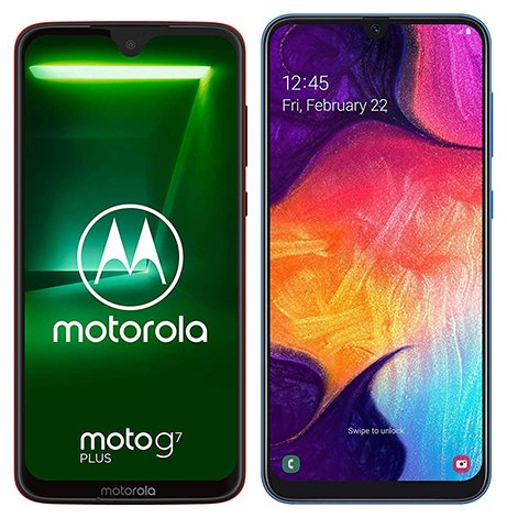 Smartphone Comparison: Motorola moto g7 plus vs Samsung galaxy a50