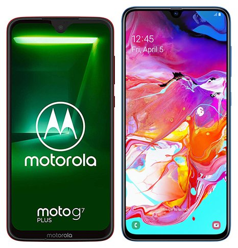 Moto G7 Plus vs Galaxy A70. Size comparison