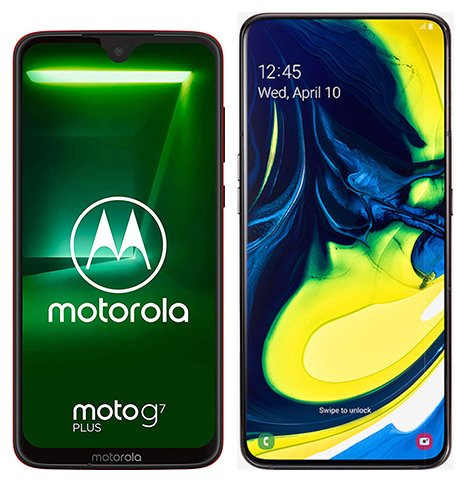 Smartphone Comparison: Motorola moto g7 plus vs Samsung galaxy a80