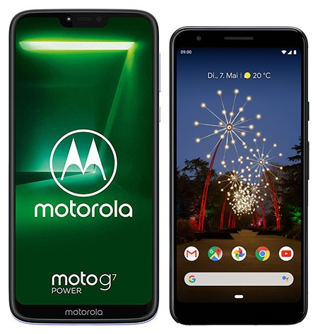 Smartphone Comparison: Motorola moto g7 power vs Google pixel 3a