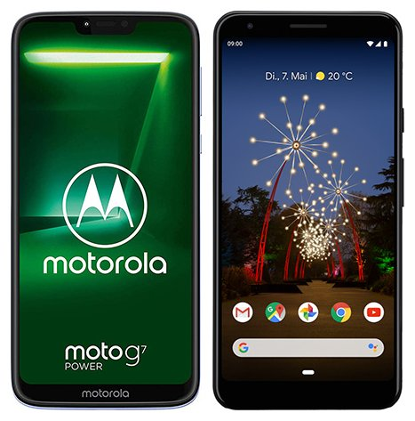 Smartphone Comparison: Motorola moto g7 power vs Google pixel 3a xl
