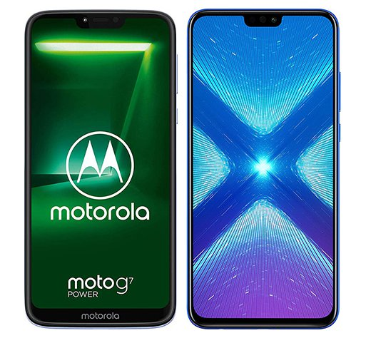 Smartphone Comparison: Motorola moto g7 power vs Honor 8x