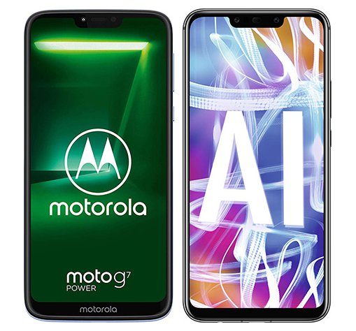 Moto G7 Power vs Mate 20 Lite. Size comparison