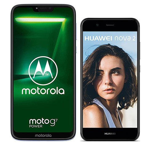 Smartphone Comparison: Motorola moto g7 power vs Huawei nova 2