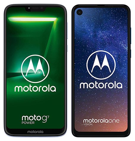 Smartphone Comparison: Motorola moto g7 power vs Motorola one vision