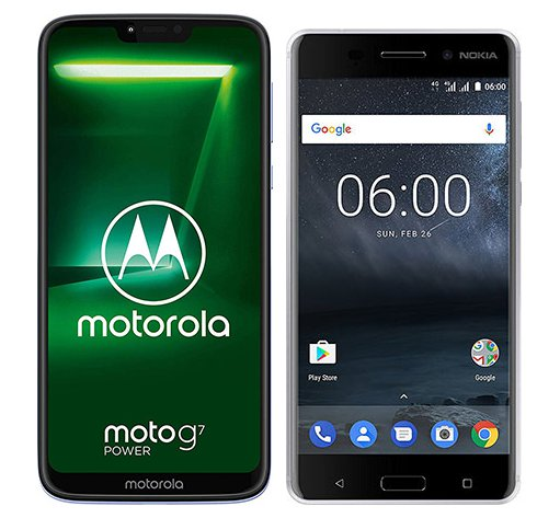 Smartphone Comparison: Motorola moto g7 power vs Nokia 6