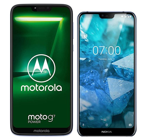 Moto G7 Power vs Nokia 7.1. Size comparison