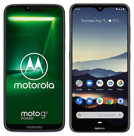 Smartphone Comparison: Motorola moto g7 power vs Nokia 7 2