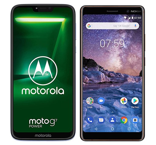 Smartphone Comparison: Motorola moto g7 power vs Nokia 7 plus