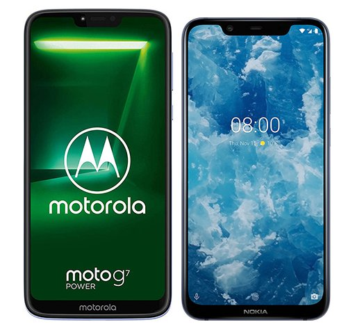 Smartphone Comparison: Motorola moto g7 power vs Nokia 8 1