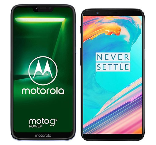 Smartphone Comparison: Motorola moto g7 power vs One plus 5t