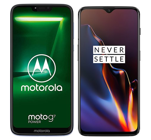 Smartphonevergleich: Motorola moto g7 power oder One plus 6t