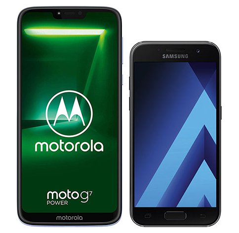Moto G7 Power vs Galaxy A3 (2017). Size comparison
