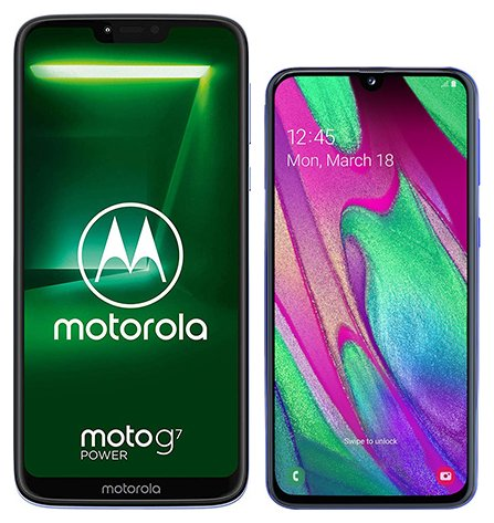 Moto G7 Power vs Galaxy A40. Size comparison