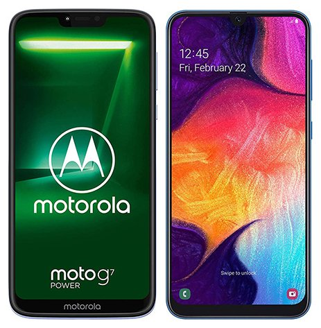 Smartphone Comparison: Motorola moto g7 power vs Samsung galaxy a50
