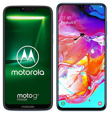Smartphone Comparison: Motorola moto g7 power vs Samsung galaxy a70