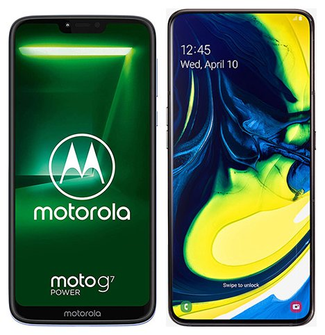 Smartphone Comparison: Motorola moto g7 power vs Samsung galaxy a80