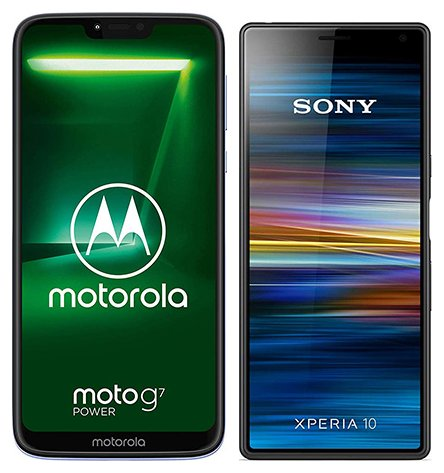 Moto G7 Power vs Xperia 10. Size comparison