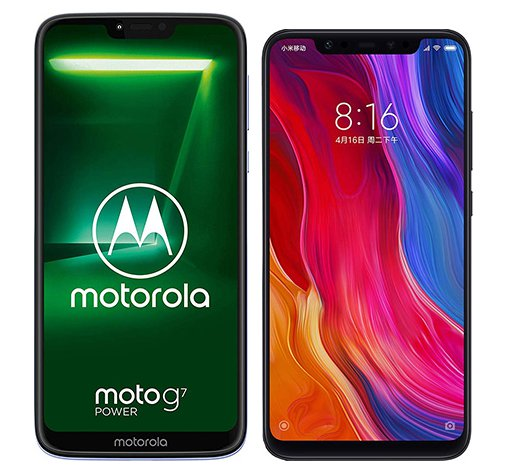 Smartphone Comparison: Motorola moto g7 power vs Xiaomi mi 8