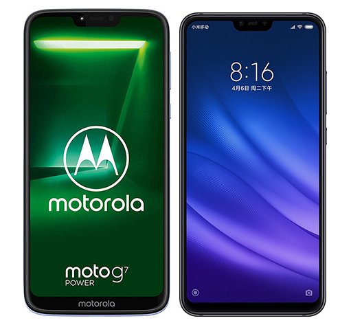Moto G7 Power vs Mi 8 Lite. Size comparison