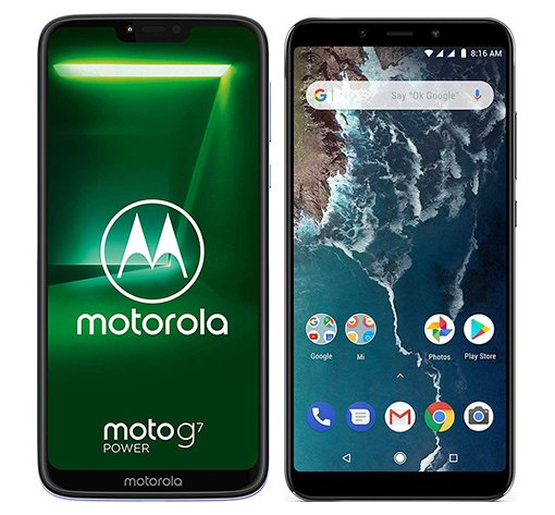 Smartphone Comparison: Motorola moto g7 power vs Xiaomi mi a2