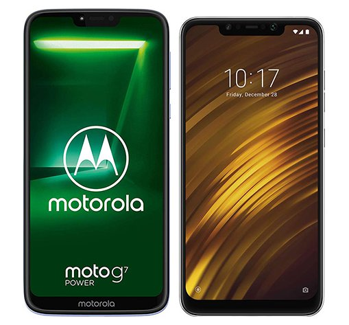 Smartphone Comparison: Motorola moto g7 power vs Xiaomi pocophone f1