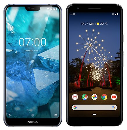Smartphone Comparison: Nokia 7 1 vs Google pixel 3a