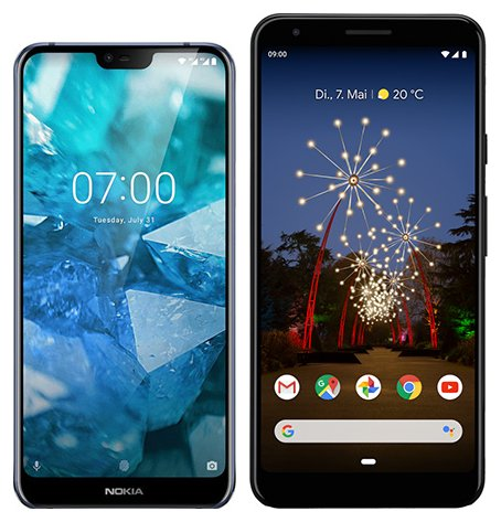 Smartphone Comparison: Nokia 7 1 vs Google pixel 3a xl