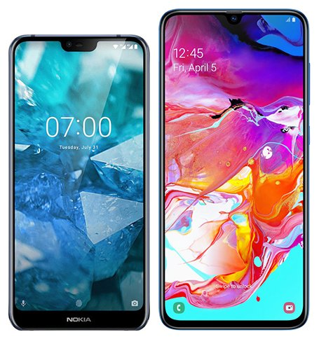 Smartphone Comparison: Nokia 7 1 vs Samsung galaxy a70