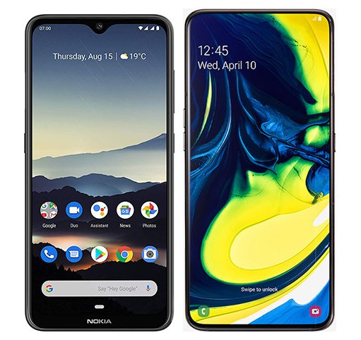 Smartphone Comparison: Nokia 7 2 vs Samsung galaxy a80