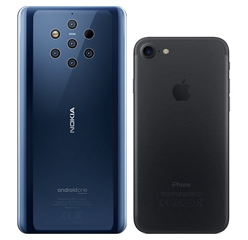 Nokia 9 vs iPhone 7. View of main cameras