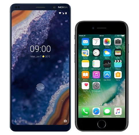Nokia 9 vs iPhone 7. Size comparison