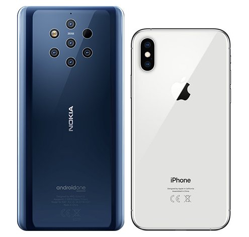 Nokia 9 vs iPhone XS. View of main cameras