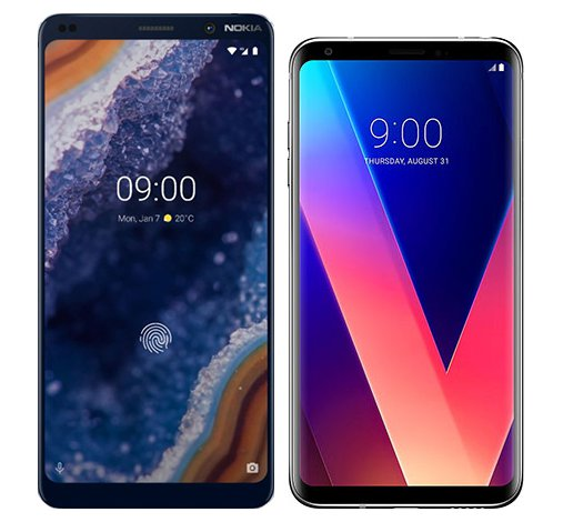 Smartphone Comparison: Nokia 9 vs Lg v30