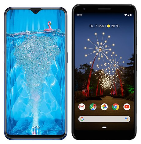 Smartphone Comparison: Oppo f9 pro vs Google pixel 3a xl