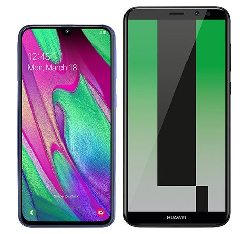 Smartphone Comparison: Samsung galaxy a40 vs Huawei mate 10 lite