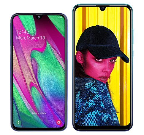 Smartphone Comparison: Samsung galaxy a40 vs Huawei p smart 2019